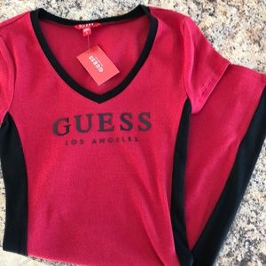 NWT Guess red/black stretch fitted dress